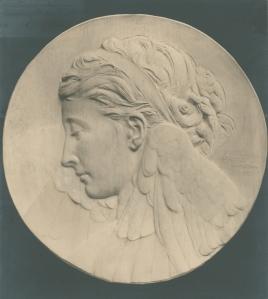 Angel medallion sculpture by Lukeman