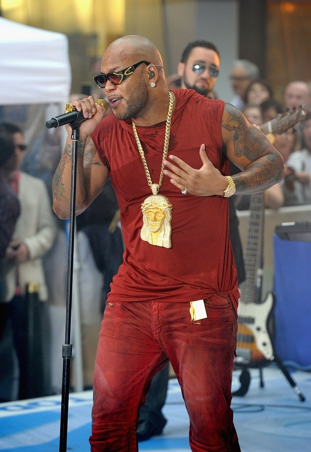 Flo Rida wearing his Jesus bling, photographed by Jamie McCarthy for WireImage.