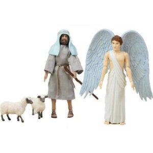 shepherd and angel action figures with sheep