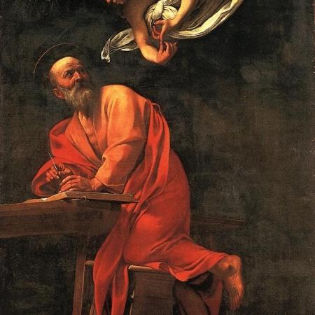 Angel hovering over St. Matthew