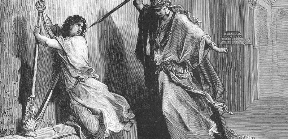 King Saul attacking David playing his harp
